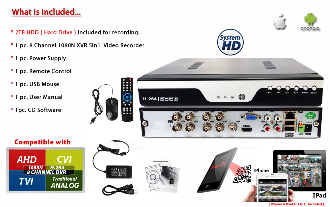 Details about 8 Port Channel H 264 Standalone Security DVR with 2TB HDD  CCTV Camera Recorder