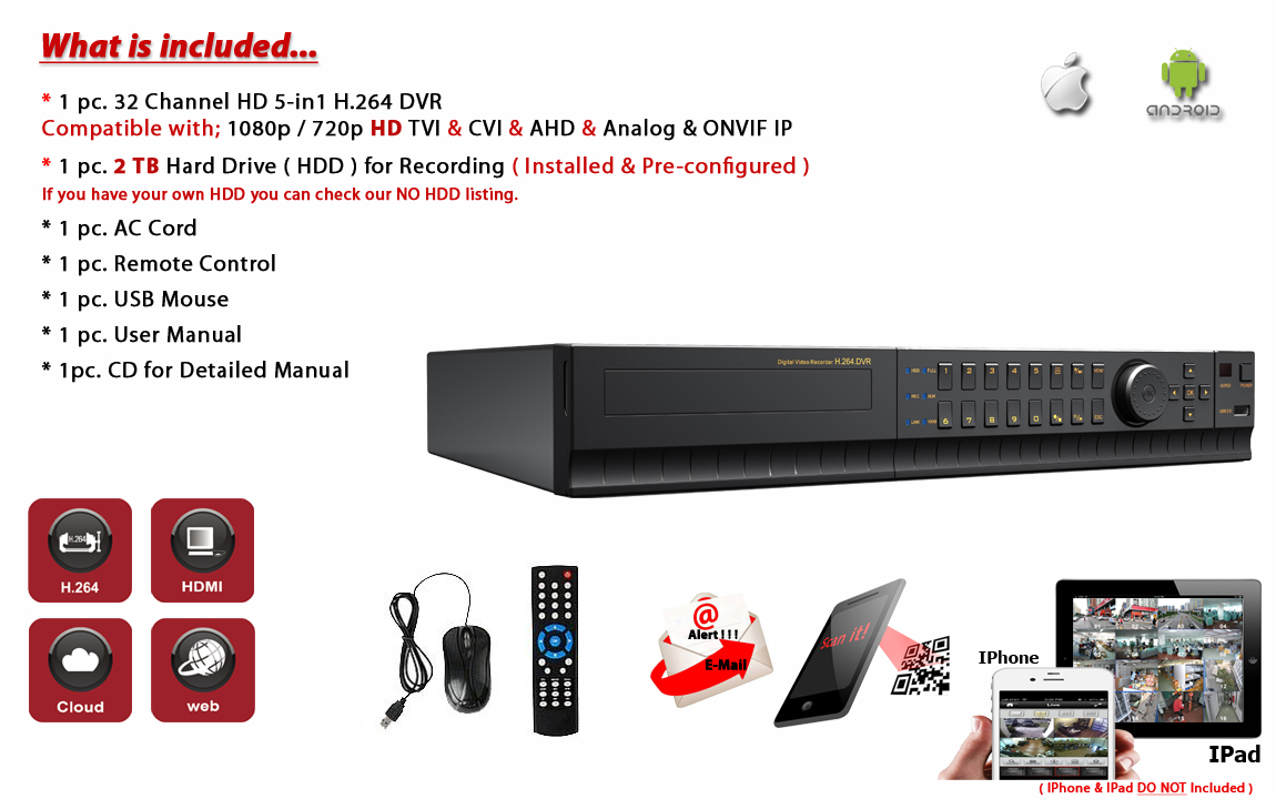 32 Channel H 264 5in1 DVR with 16TB Hard-Drive HD-CCTV AHD