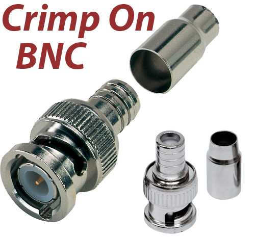 50pcs BNC Male Crimp Connector For Siamese RG 59 Cable Coax for CCTV Security
