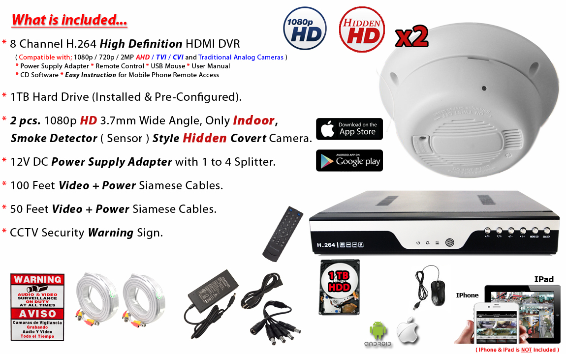 Hd 1080p Hidden Smoke Detector Covert Camera For Hd Tvi Dvr With