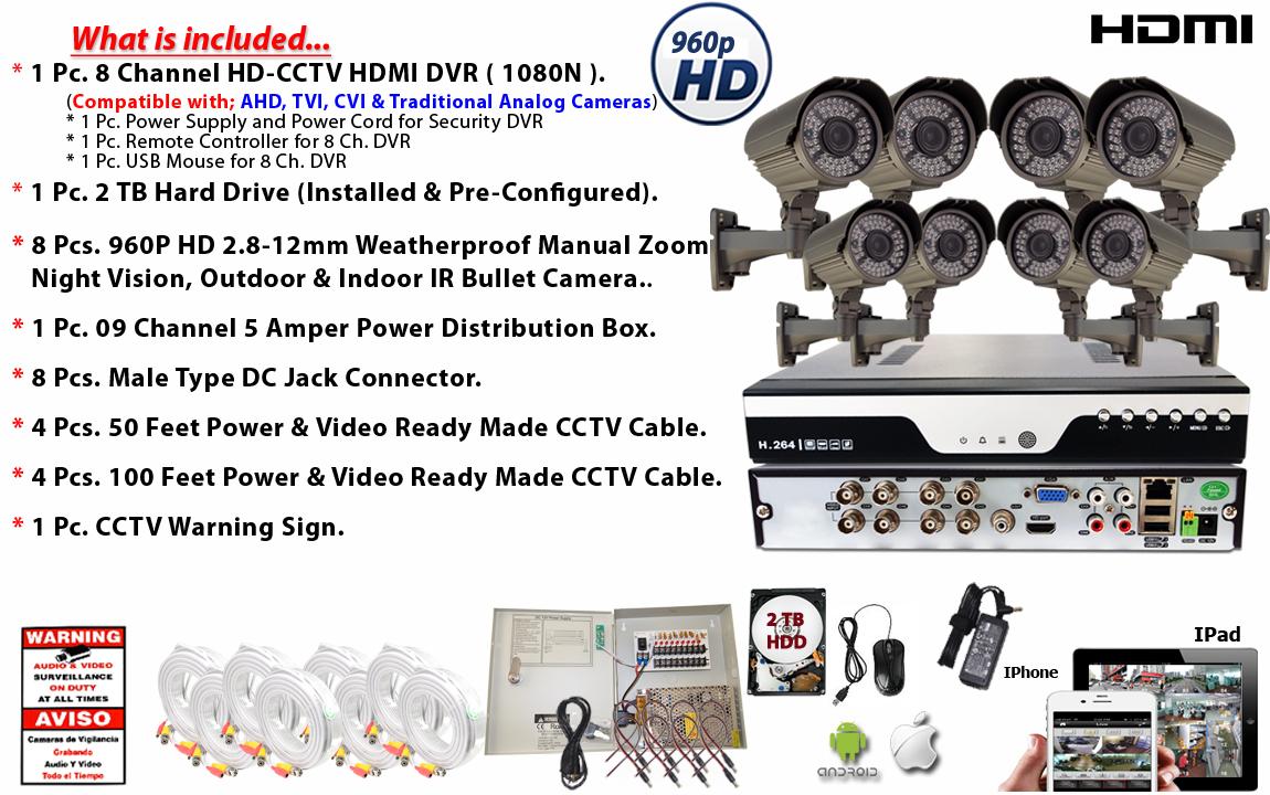 8 Channel HD H.264 DVR 8x HD Home CCTV Security Surveillance Camera ...