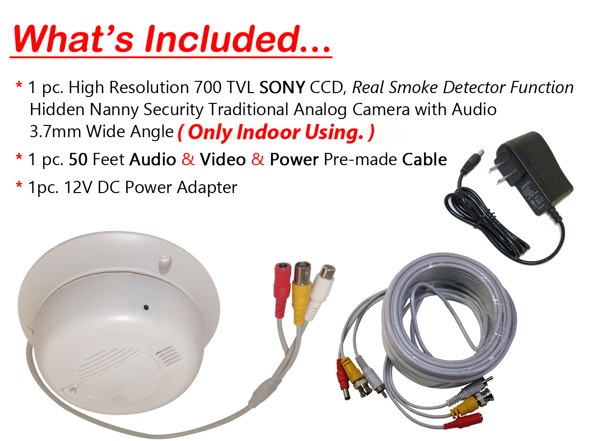 Nanny Hidden Security Camera W Audio Real Smoke Detector Function